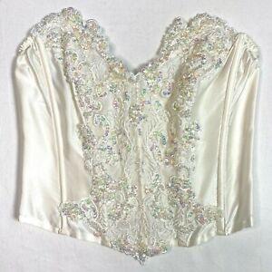 Vtg 80s LORE Caulfield Silk Lace Applique Sequin BRIDAL Bustier Corset Top sz S