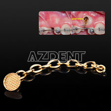 10pcs Dental Orthodontic Golden Round Mesh Lingual Buttons Traction Chain Sale!!