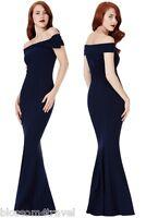 Goddiva Navy Bardot Bow Shoulder Fishtail Maxi Evening Dress Prom Party ball