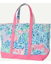NEW Lilly Pulitzer MERCATO TOTE Sink or Swim Bag Pink Blue CORALS