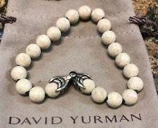 "David Yurman Men Silver Accent Wave 8MM Spiritual Beads Bracelet 7 3/4"""