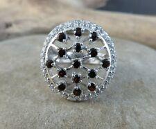 Sterling Silver Ring Size 7.5 #507 Red Garnet, Crystal Quartz Crisscross Cluster
