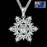 925 Sterling Silver Filled FROZEN SNOWFLAKE Crystal Charm Pendant Chain Necklace