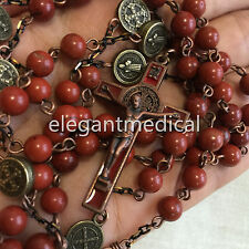 Red Carnelian beads Vintage Catholic St. Benedict 5 DECADE Rosary Cross Necklace
