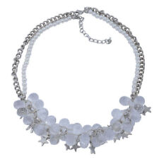 White Glass Necklace (Size 18) in Silver Tone with Resin
