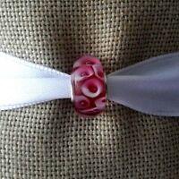 Red White Murano Glass Bead Lampwork For European Charm Silver Bracelet