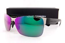 New Porsche Design Sunglasses P8582 8582 D Gunmetal/Black/Green Mirrored