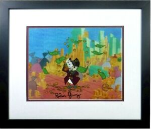 signed Alan Young Disney Scrooge McDuck Money Sericel Cel hand Autograph NEW FRA