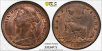 PCGS MS-64 RED-BN GREAT BRITAIN HALFPENNY 1/2 PENNY 1885 (LIGHT DIE CLASH)