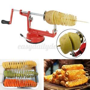 DE Manueller Twisted Potato Kartoffelschneider Veg Obst Spiral Slicer Cutter