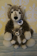 Build A Bear WWF Grey Wolf with Baby Small Wolf Plush Doll Retired