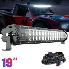 """19"""" M1S LED Light Bar Lamp 40A Relay Wiring Harness For Offroad Car Jeep Nissan"""