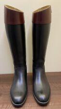 Aigle Coupe Saumur Black Brown Rubber Riding Boots Wellington Size 37 (UK 4)