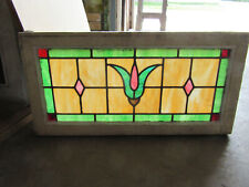 ~ ANTIQUE STAINED GLASS TRANSOM WINDOW WITH FLOWER ~ 32.25 X 16 ~ SALVAGE
