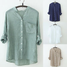 UK Womens Long Sleeve Button Down T Shirt Tops Ladies Office Casual Loose Blouse