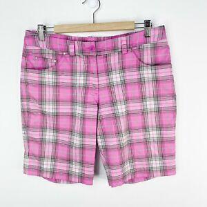 Nike Golf Womens Size 10 Pink Plaid Shorts Tour Performance Dri-Fit