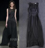 Chic Womens 100% Silk Black Sleeveless Round Neck Maxi Long Dress Ball Gown NEW