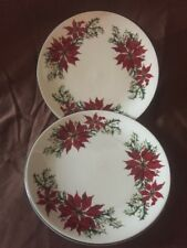2 Totally Today Poinsettia Christmas China Salad Plates Cookie Serving Tray