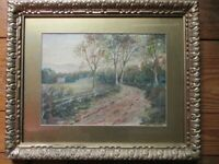 "Vintage WATERCOLOR, PASTORAL,C.1880, Period Frame,Matted,18 1/2"" x 22 1/4""."