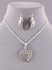 Pink Ribbon Angel Wings Silver Tone Chain Pendant Necklace Cancer Awareness