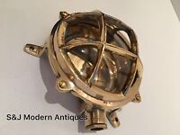 Industrial Bulkhead Wall Light Ceiling Antique Vintage Retro Ship Lamp Brass Old