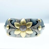 Gorgeous Sterling Silver Cuff Bracelet With Mini Diamonds Floral Art Deco Style