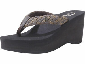 Cobian Women's Zoe Flip-Flops Wedge Sandals Chocolate