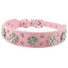 Rhinestone PU Leather Pet Dog Collar Bling Cute For Small Medium Dogs Chihuahua