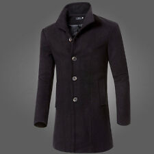 Fashion Mens Trench Coat Warm Thicken Jacket Woolen Peacoat Long Overcoat Tops