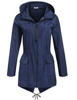 SoTeer Women's Raincoat Outdoor Hooded Packable Rain, A-navy Blue, Size X-Large