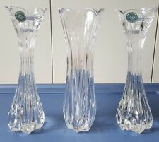 """LENOX ISLAND BREEZE CRYSTAL VERTICAL CUT BUD VASE AND 2 CANDLE STICKS NEW 9"""""""