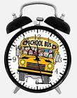 "School Bus Alarm Desk Clock 3.75"" Home or Office Decor W203 Nice For Gift"