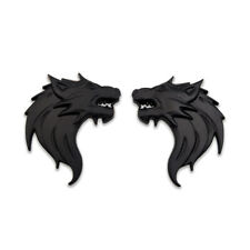 Pair Black Wolf Head Logo Emblem Car Side Badge Metal Sticker Racing Sport Decal
