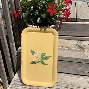 Vintage Metal Tray Yellow Magnolia Flower White 18x11 Breakfast Lap Serving Work