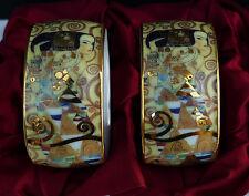 2 Gustav Klimt Porzellan Serviettenringe mit edlem Motiv - Ohne OVP !!! Nr.8