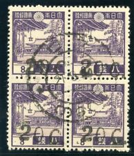 Burma - Japanese Occ 1942 KGVI 20c on 8s violet block VFU. SG J71. Sc 2N27.