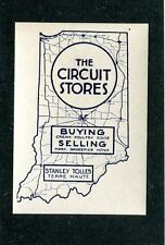 Vintage Advertising Label THE CIRCUIT STORES Stanley Tolles Terre Haute IN