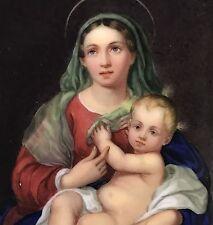 Porzellan Gemälde Bildplatte Maria Mutter Gottes Jesus Kind Augarten Wien ~1860