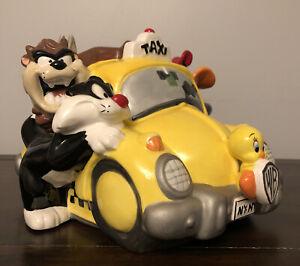 WARNER BROS LOONEY TUNES Taxi Ceramic Cookie Jar - Bugs Daffy Sylvester Tweety