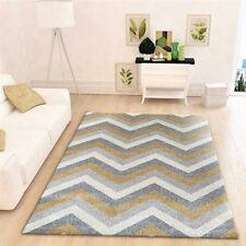 Grey Ochre Rug Mustard Yellow Chevron Zig Zag Carpet Short Pile Mat Living Room