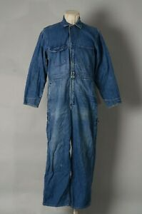 VTG BIG MAC Denim Workwear Coveralls Size 40S IDEAL Zipper