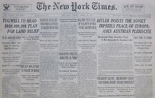 3-1935 March 26 Hitler Insists Soviet Imperils Peace Of Europe Ask Austria 80th