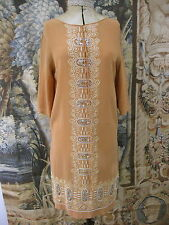Vintage Antique 1920s Pale Apricot Dress with Cream Embroidery and Pearl Buttons