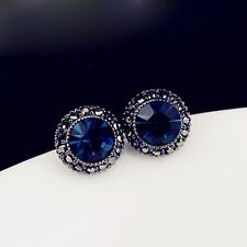Wedding 18K Sapphire Blue Round Crystal Rhinestone Ear Stud Earrings Womens Gift