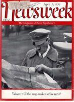 APR 3, 1939 ORIG VINTAGE NEWSEEK MAGAZINE COVER (ONLY) INFAMOUS ADOLF HITLER
