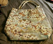 EUC Thursday Friday Canvas Large Tote Beige Shopping Bag Impressionist Painting