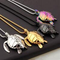 "Large Metal Sea Turtle Pendant Necklace - 4 Colors Silver Gold Black Multi 24"""