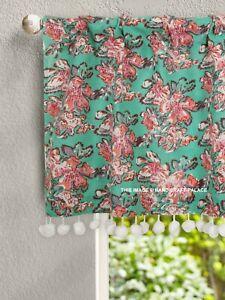Window Curtain Hand Block Print Sheer Voile Kitchen Curtain Valance Short Panel