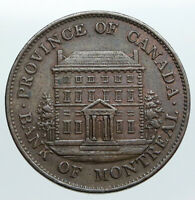 1842 LOWER CANADA Antique Montreal Building HALF PENNY BANK TOKEN Coin i90533