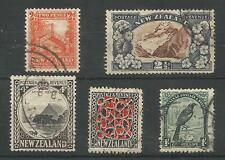 NEW ZEALAND 1935-6 FINE USED SELECTION OF 5 CAT £71